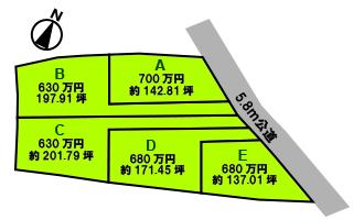 熊谷市柿沼5区画売地/B区画